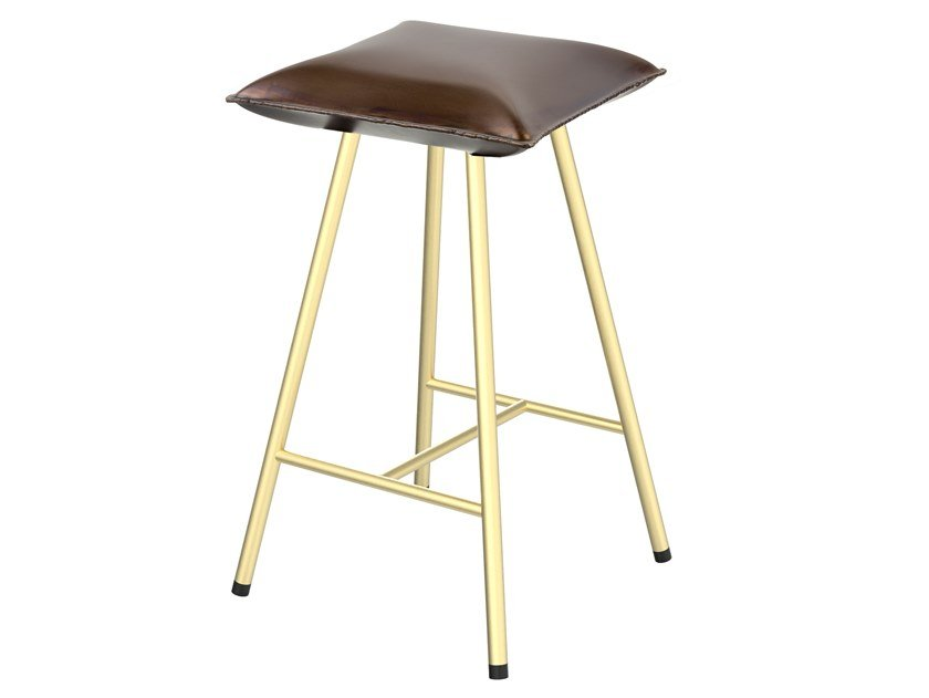 High iron stool with footrest SOFT IRON 05M by Il Bronzetto