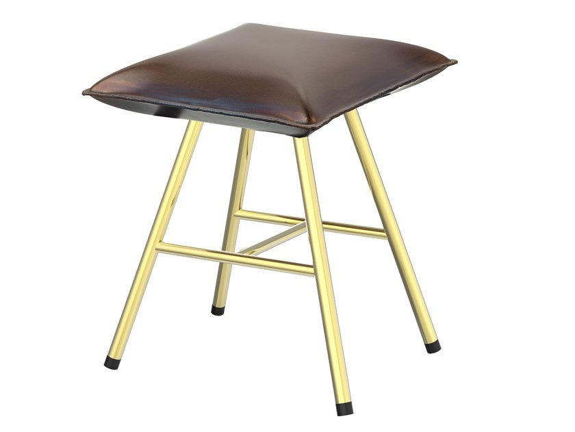Iron stool with footrest SOFT IRON 05S by Il Bronzetto