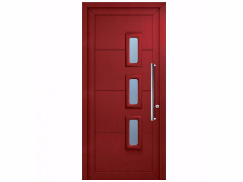 Exterior custom glazed PVC entry door SOFT POLA by FOSSATI PVC
