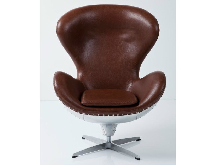 Swivel leather armchair with 4-spoke base with armrests SOHO BIG BOSS ECO by KARE-DESIGN
