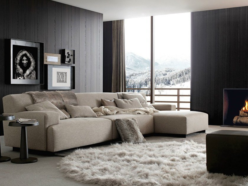 Sectional fabric sofa with removable cover with chaise longue SOHO | Sofa with chaise longue by poliform