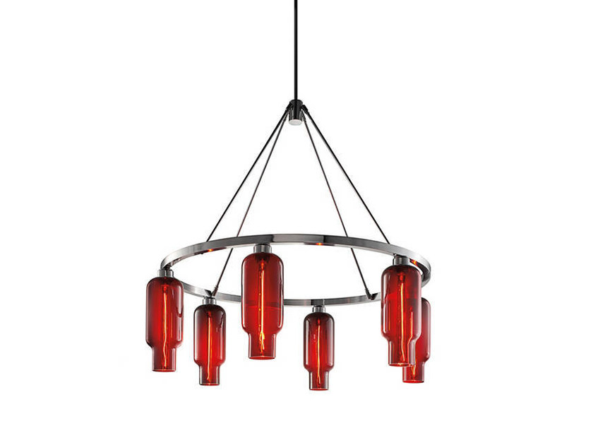 Direct light blown glass chandelier SOLA 36 by Niche Modern