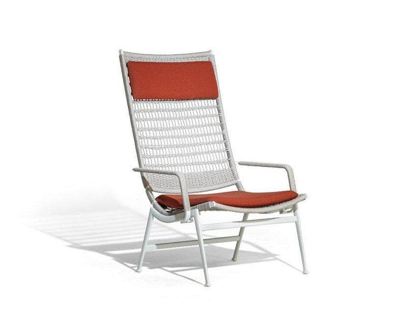 Rope garden armchair with armrests SOLARIA   Garden armchair with armrests by Poltrona Frau