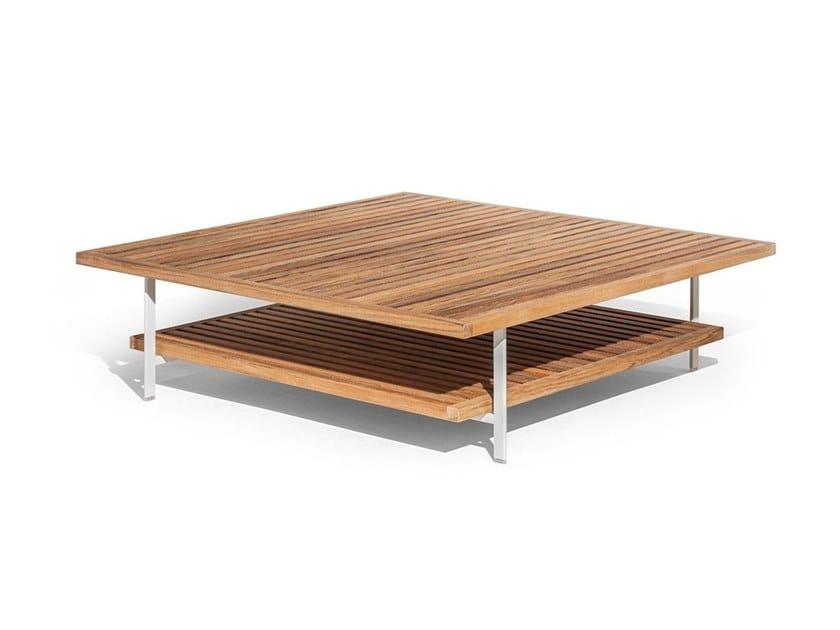 Low square teak garden side table SOLARIA   Garden side table by Poltrona Frau