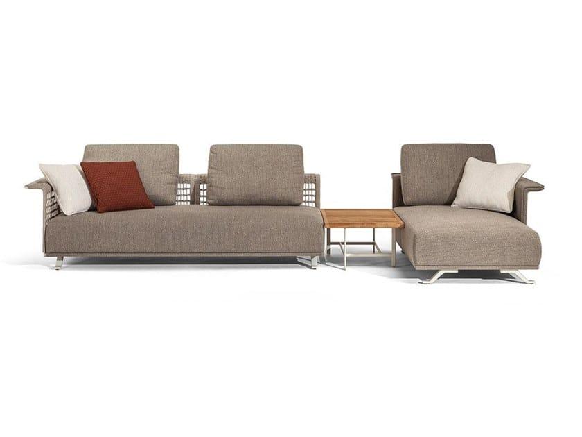 Sectional fabric garden sofa with removable cover SOLARIA | Garden sofa by Poltrona Frau
