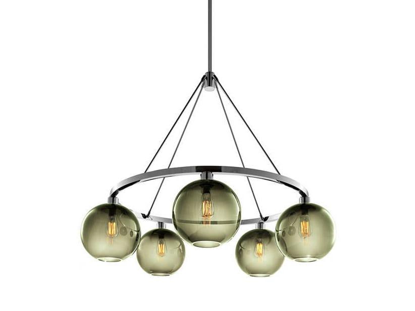 LED blown glass chandelier SOLITAIRE | Chandelier by Niche Modern