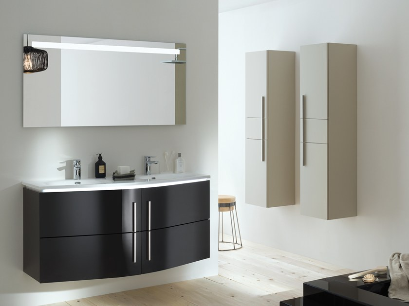 Lacquered wall-mounted vanity unit with doors SOON by SANIJURA