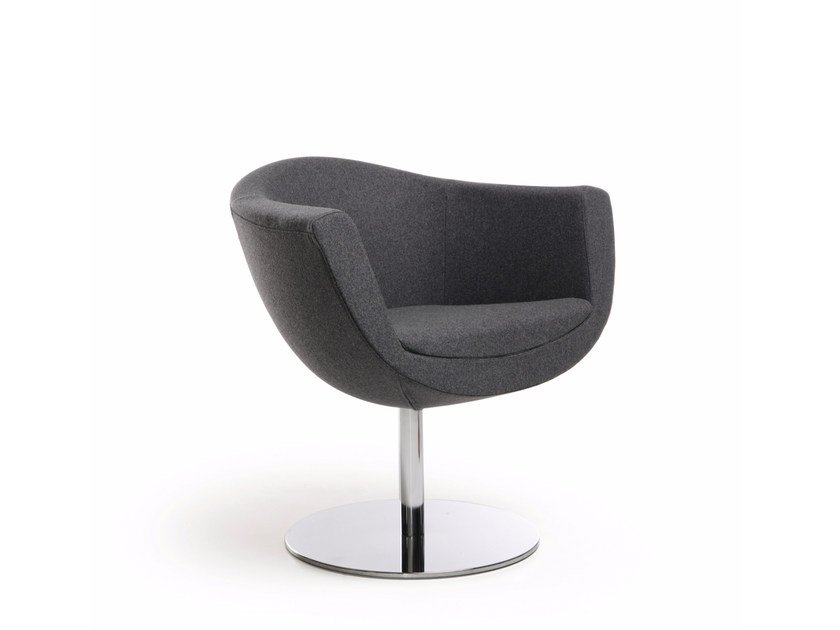 Swivel fabric easy chair with armrests SORRISO 10R by profim
