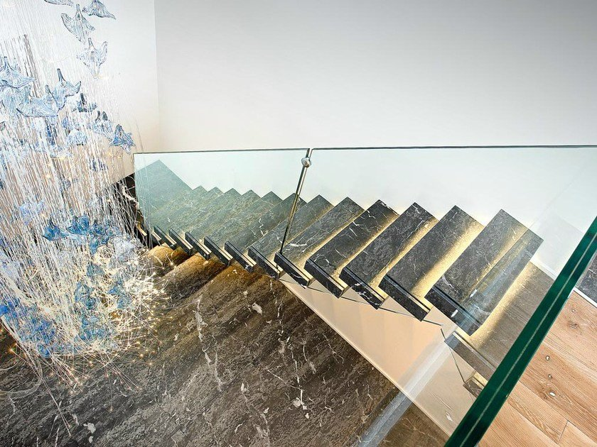 Marble cantilevered staircase SOSPESIA   Marble cantilevered staircase by OFFICINE SANDRINI
