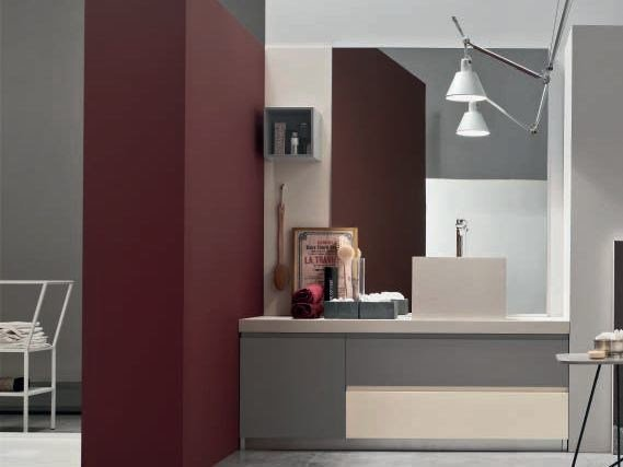 Single oak vanity unit with mirror SOUL - COMPOSITION 07 by Arcom
