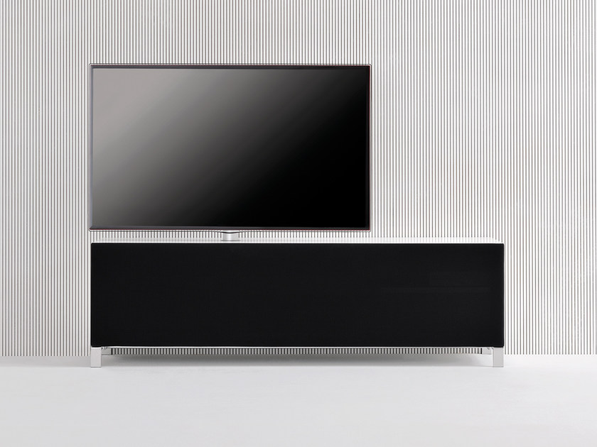 Contemporary style low modular wooden TV cabinet with flap doors SOUND SYSTEM | TV cabinet with flap doors by Silenia