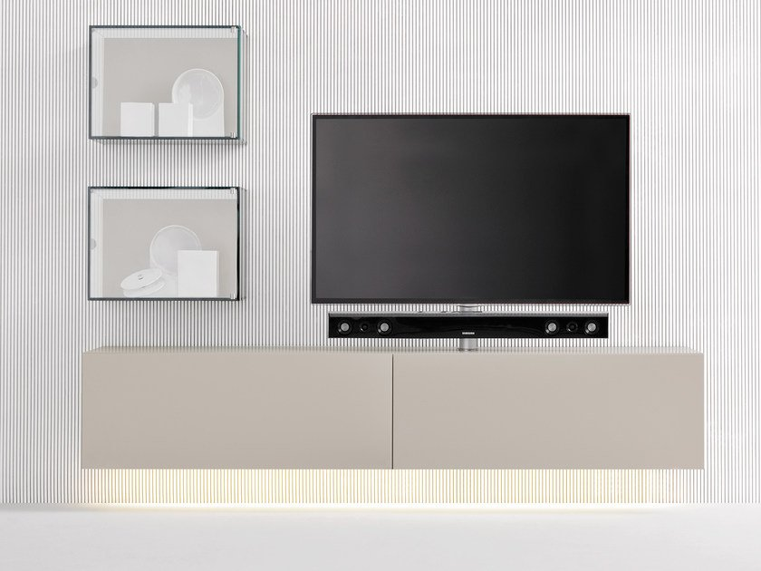 Modular TV cabinet with flap doors SOUND SYSTEM | Wall-mounted TV cabinet by Silenia