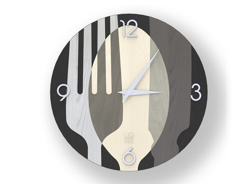 Wall-mounted wooden clock SOVRAPOSATE COLD | Clock by LIGNIS®