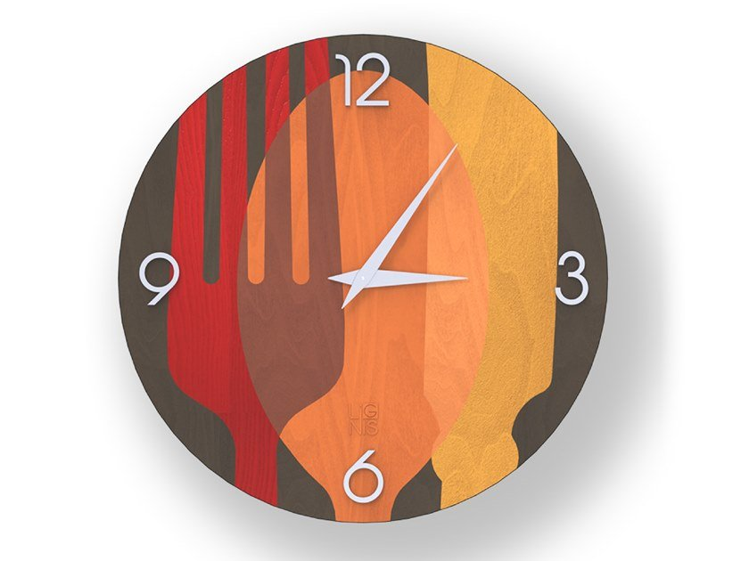 Wall-mounted wooden clock SOVRAPOSATE COLORS | Clock by LIGNIS®