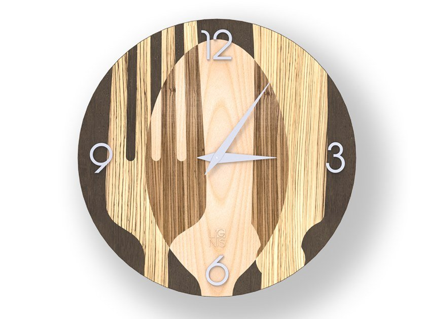 Wall-mounted wooden clock SOVRAPOSATE WARM | Clock by LIGNIS®