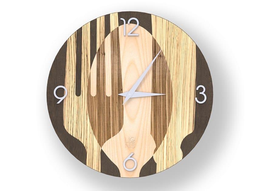 Orologio da parete in legno intarsiato SOVRAPOSATE WARM | Orologio by LIGNIS®