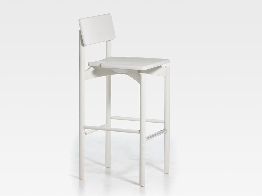 Lacquered wooden barstool with footrest SPAM | Lacquered stool by SIPA