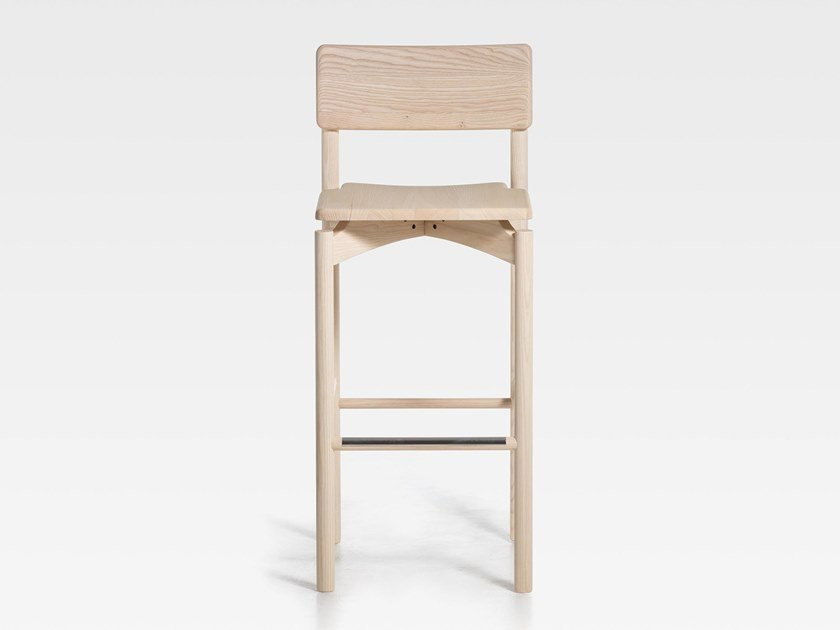 Wooden barstool with footrest SPAM | Wooden stool by SIPA