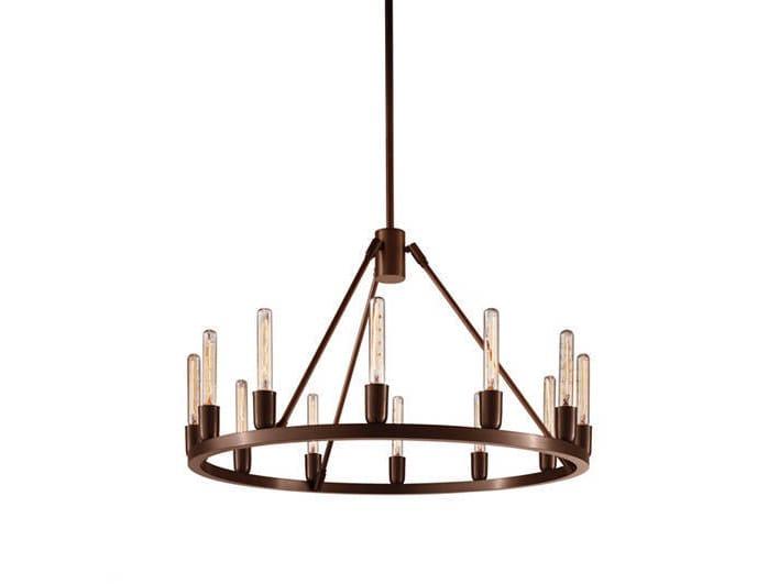 Direct-indirect light metal chandelier SPARK 24 by Niche Modern