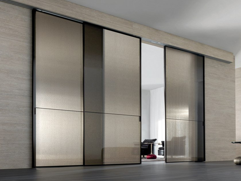 Fabric glass sliding door SPARK | Decorated glass door by Longhi