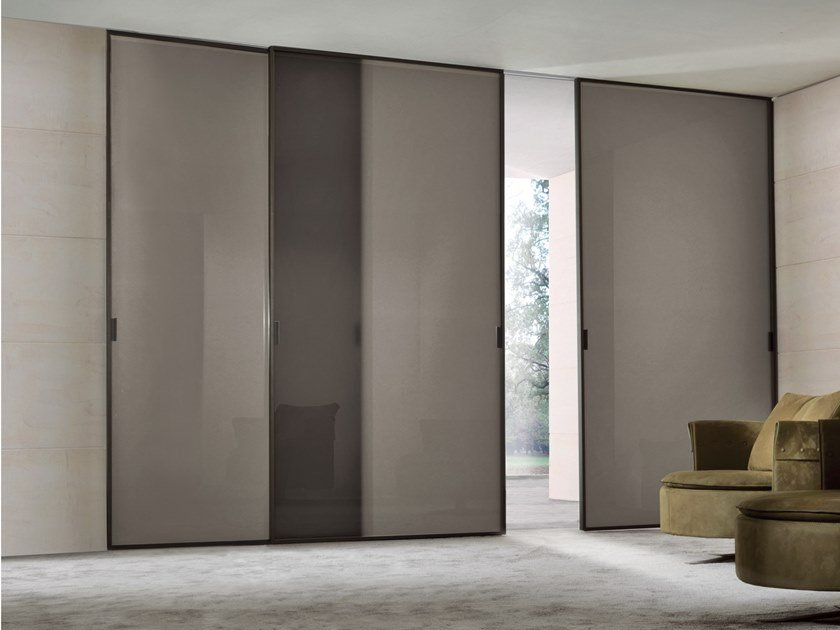 Satin glass sliding door SPARK | Satin glass door by Longhi