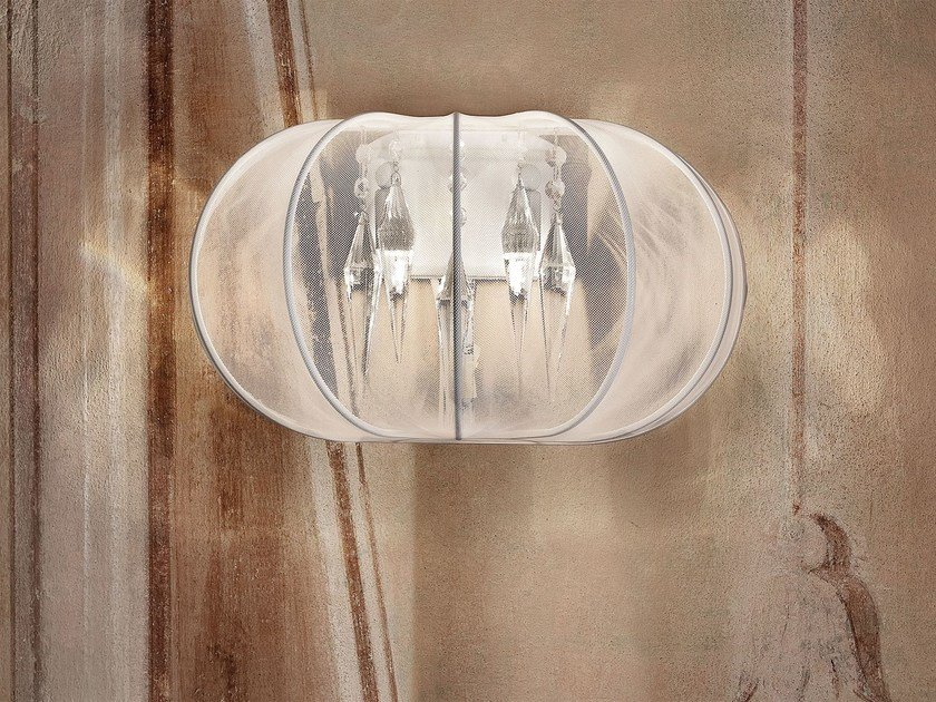Direct-indirect light fabric wall lamp SPHERE | Wall lamp by Masiero