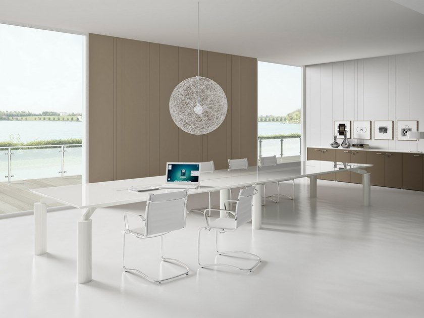 Rectangular meeting table with cable management SPIDER | Meeting table by PROF