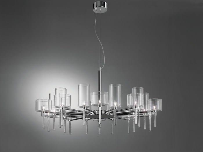 Lampadario a luce diretta alogena in cristallo SPILLRAY | Lampadario by AXOLIGHT