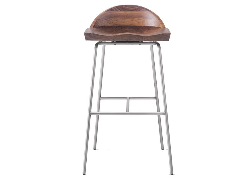 Steel and wood bar stool with back SPINDLE   Low Back Bar Stool by BassamFellows