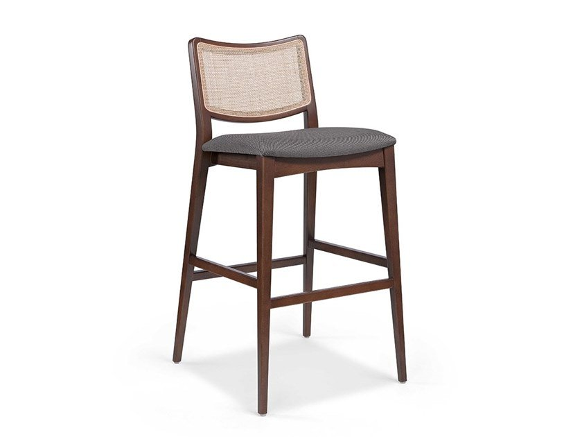 High wooden stool with footrest SPIRIT WICKER BAR by Fenabel