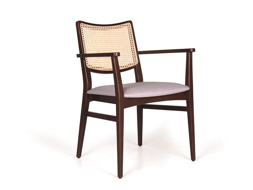 Upholstered solid wood chair with armrests SPIRIT WICKER CB by Fenabel
