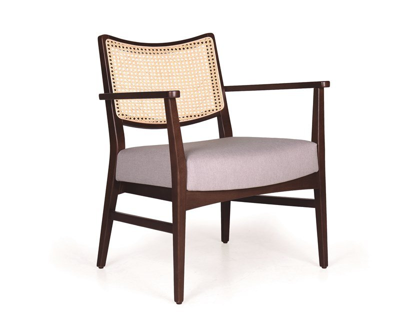 Solid wood armchair with armrests SPIRIT WICKER MASS by Fenabel