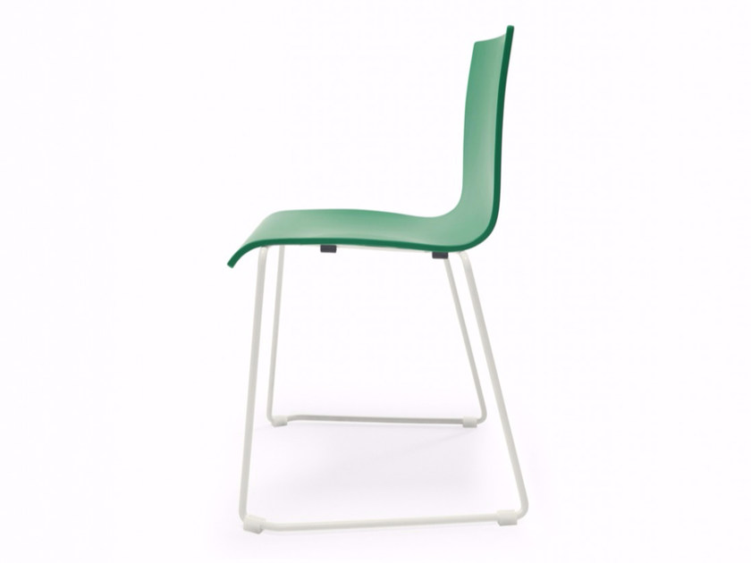 Sled base stackable wooden chair SPLIT P | Sled base chair by Adico