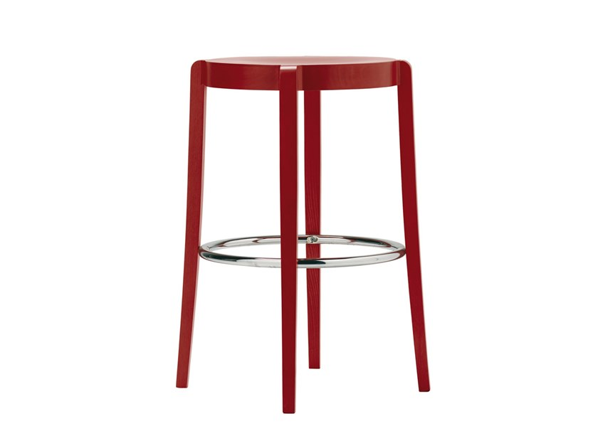 Beech stool with footrest SPOCK SG02 by New Life