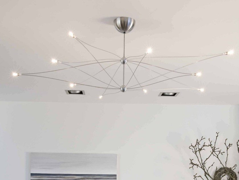 Direct-indirect light halogen stainless steel chandelier SPOETNIK by FERROLIGHT DESIGN