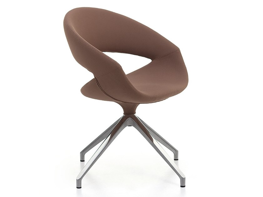 Trestle-based leather reception chair SPOT SOFT | Trestle-based chair by Linea Fabbrica