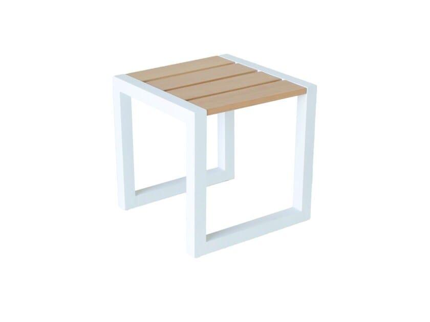 Sled base iroko stool SPRING | Aluminium stool by Efasma