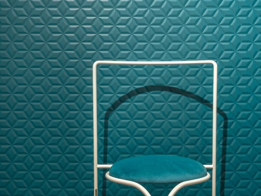 Rectified indoor white-paste wall tiles SPRINGPAPER 3D-02 BLUE by CERAMICA SANT'AGOSTINO