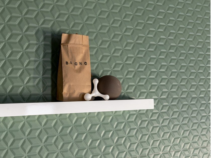 Rectified indoor white-paste wall tiles SPRINGPAPER 3D-02 GREEN by CERAMICA SANT'AGOSTINO