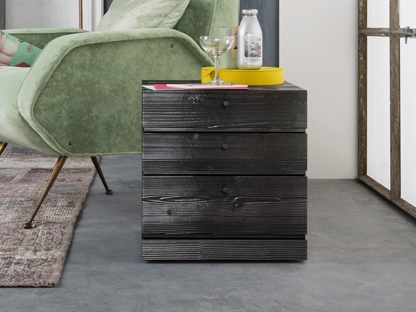 Rectangular bedside table with drawers BOX   Spruce bedside table by Capo d'Opera