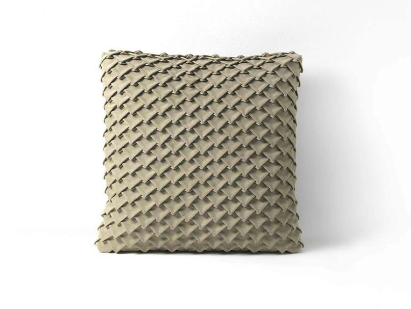 Square leather cushion SQUAMA by Frigerio Salotti