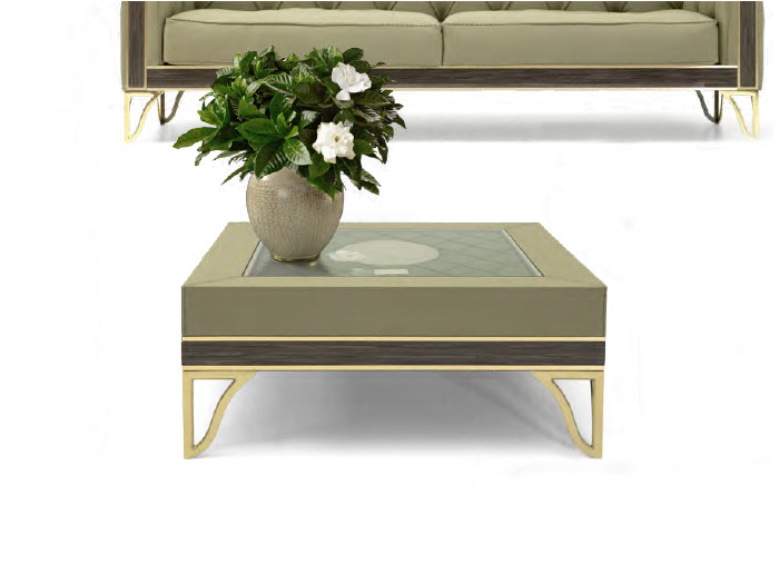Square leather coffee table for living room GRANADA | Square coffee table by Formitalia