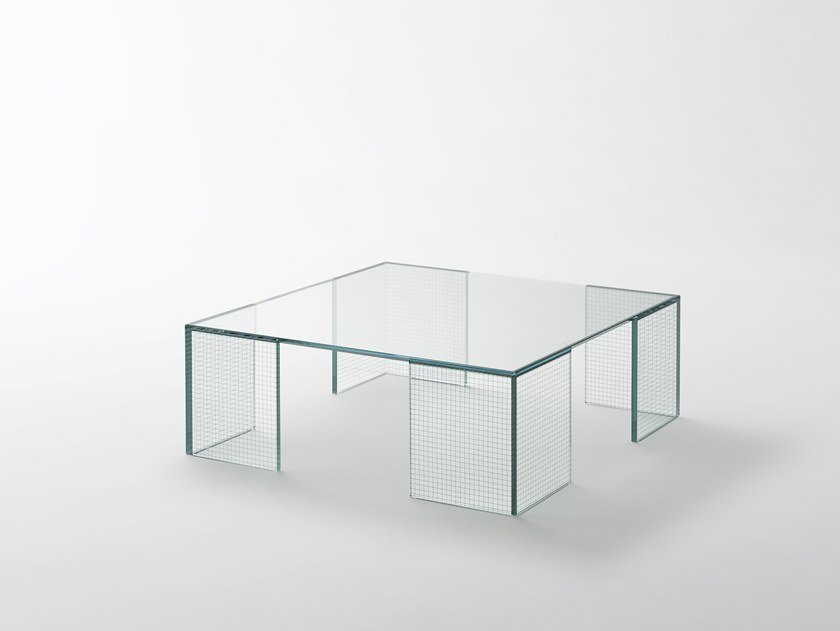 Low square crystal coffee table GRID | Square coffee table by Glas Italia