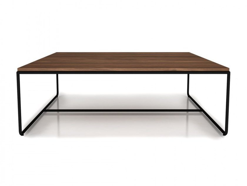 Square walnut coffee table LINEA | Square coffee table by Huppé