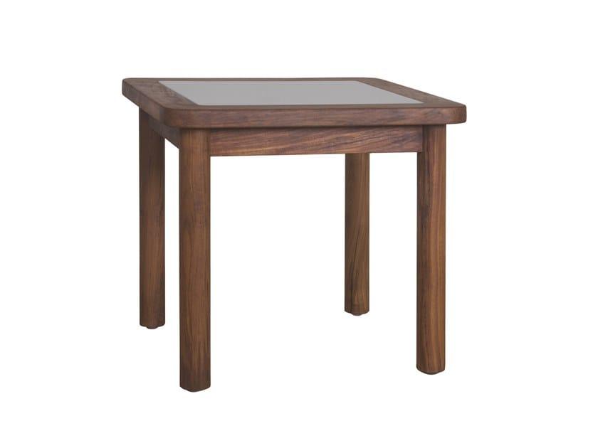 Square teak garden side table RING | Square coffee table by Il Giardino di Legno