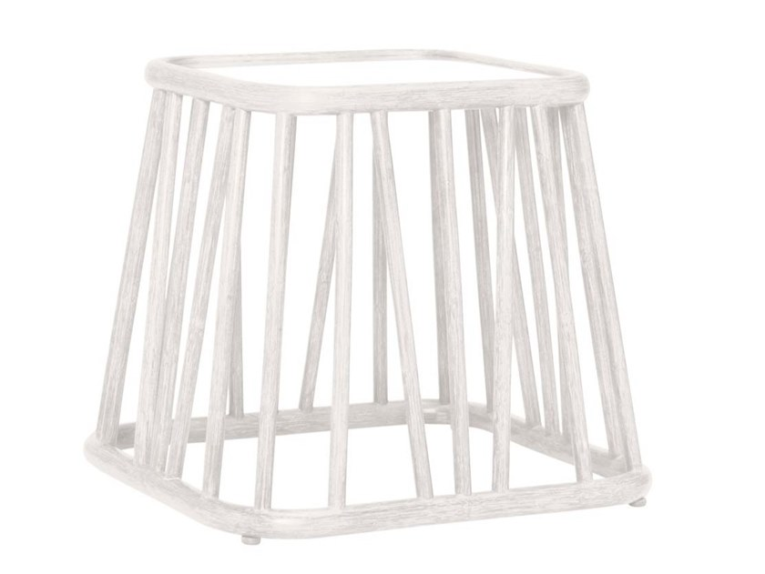 Square rattan and glass side table KYOTO | Square coffee table by JANUS et Cie