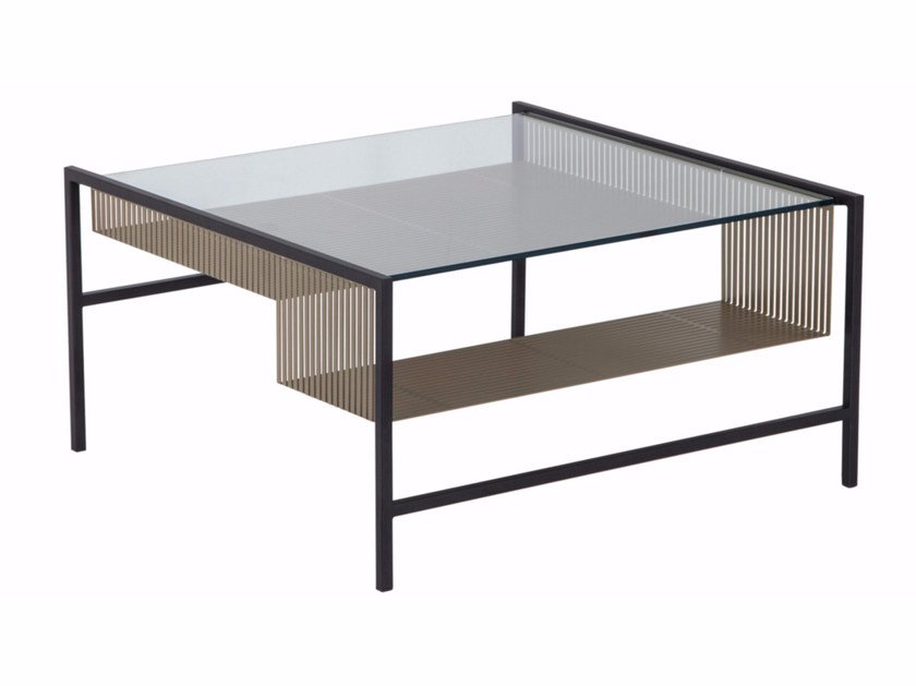 Square glass and steel coffee table AGRAFE | Square coffee table by ROCHE BOBOIS