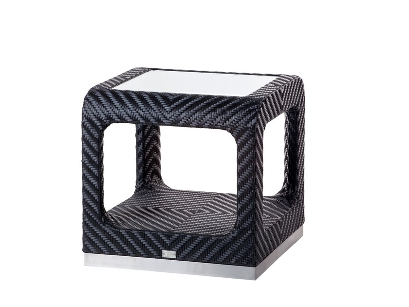 Garden side table with storage space CRUISE | Square coffee table by 7OCEANS DESIGNS