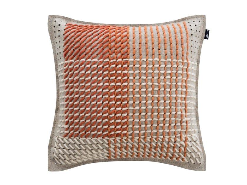 Square fabric cushion CANEVAS GEO CORAL | Square cushion by GAN