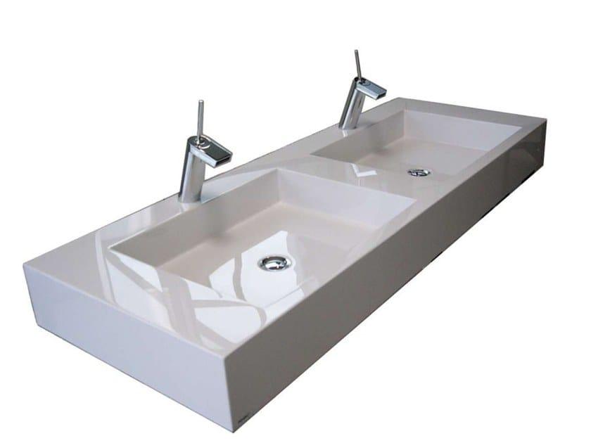 Countertop double Pietraluce® washbasin SQUARE | Double washbasin by Technova